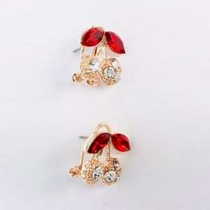 New!Rose Gold Cubic Zirconia Cherry Studs Earrings